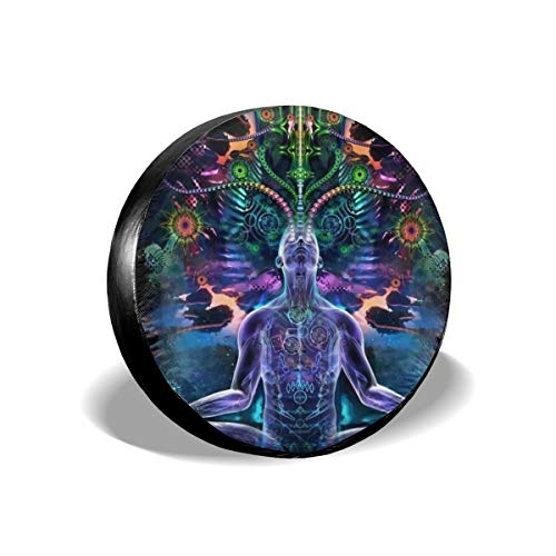 Dreamfy Indian Mandala Zen Meditation Om Waterproof Tire Cover Unisex Spare Universal Tire Cover Wheel Covers for Trailer RV SUV Vehicle Trailer for Travel Camper 14 15 16 17 Inch -