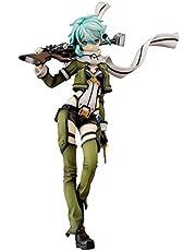 Knmbmg Sword Art Online: Sinon 1:7 Schaal PVC Figuur Standbeeld - Anime Mooi Meisje Zeer Gedetailleerd Sculpt - Uitgerust met wapens - Computer Desktop Decoratie Hoog 22CM, Boxed