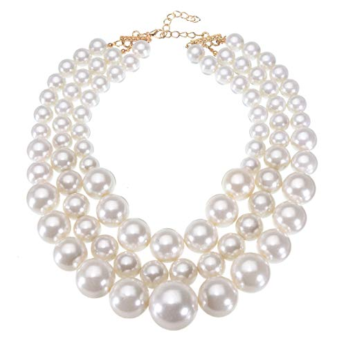Jerollin Fashion Resin Big White Simulated Pearls Multi Strand 3 Layer Chunky Bib Evening Necklace ()