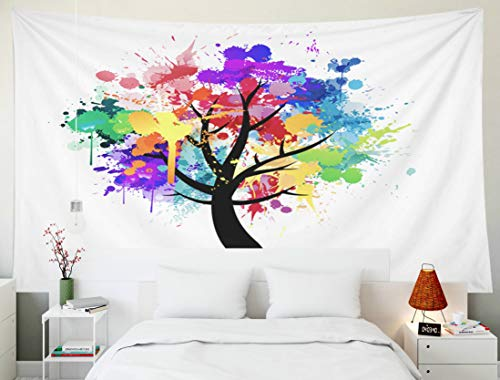 Fullentiart Dorm Tapestry, Wall Hanging Tapestry 80x60inch Multi Colored Paint Splat Abstract Tree Decoration Room Birthday Gift Holiday Décor Tapestries