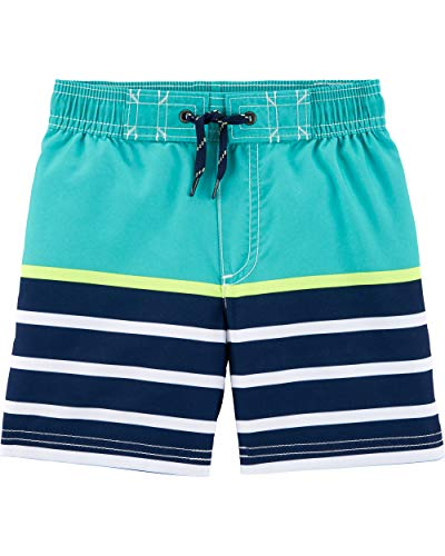 Carter's Toddler Boys' Swim Trunk, Turquoise Stripe, 4T (Bathing Suits Toddler Boys)
