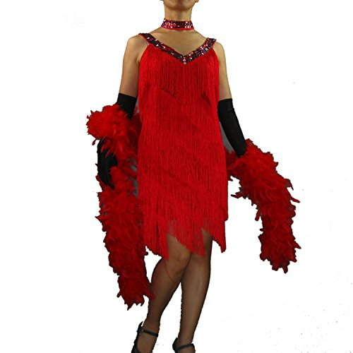Whitewed Vintage Bling Jazz Flapper Style Dance Costumes Dresses for Adults Red
