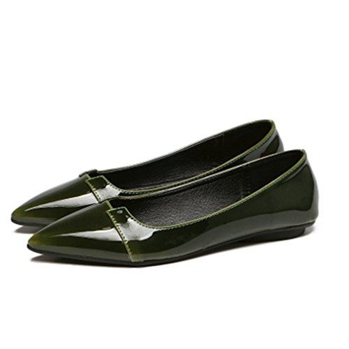 Giy Damesschoenen Met Ronde Neus Plateau Comfort Instapper Klassieke Casual Ballet Wandeljurk Loafer Schoenen Donkergroen
