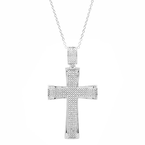 Dazzlingrock Collection 0.55 Carat (ctw) 10K White Diamond Men's Cross Pendant 1/2 CT (Silver Chain Included), White Gold