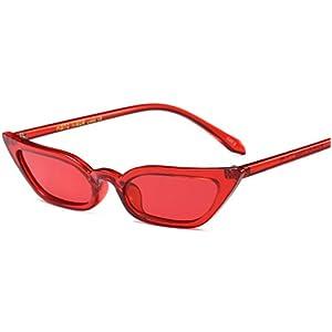 EYESWING Vintage Sunglasses Women Cat Eye Luxury Brand Designer Sun Glasses Retro Small Ladies Sunglasses Eyewear (Red Frame With Red Lens)