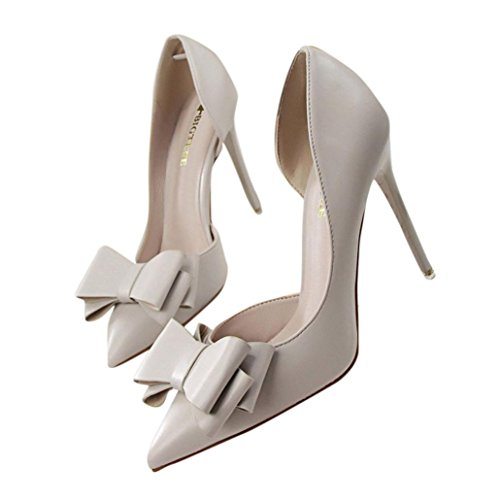 YJYdada Women shoes, Women Pumps Sweet Bowknot High Heels Shoes Sexy Thin Pointed Single Shoes (38, Gray)