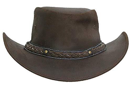 Brandslock Men's Wide Brim Cowboy Aussie Leather Hat Vintage (2XL, Brown) ()