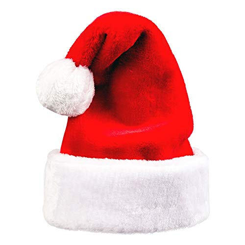 LETSQK Plush Santa Hat Velvet Classic Party Christmas Costume Cap Adult Red/White