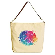 Vietsbay Peace Symbols Beige Printed Canvas Tote Bag with Leather Strap WAS_29