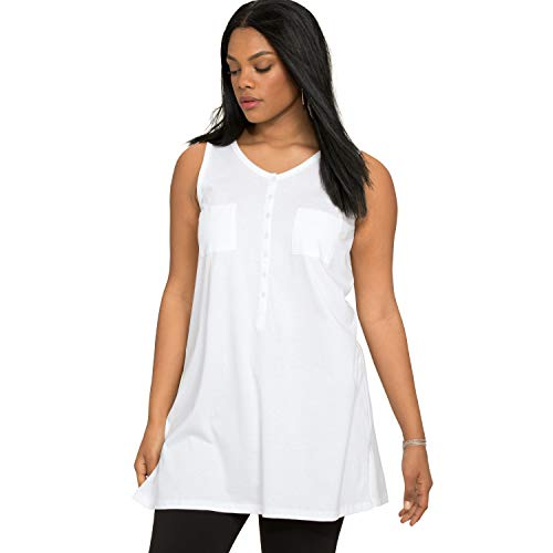 (Roamans Women's Plus Size Button-Front Henley Ultimate Tunic Tank - White, M)