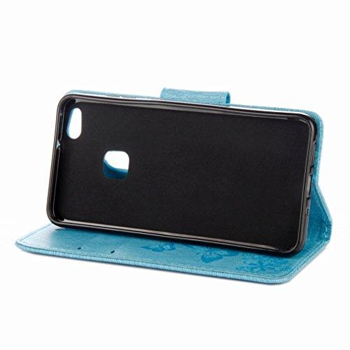 Yiizy Huawei P10 Lite Custodia Cover, Farfalla Design Sottile Flip Portafoglio PU Pelle Cuoio Copertura Shell Case Slot Schede Cavalletto Stile Libro Bumper Protettivo Borsa (Azzurro)