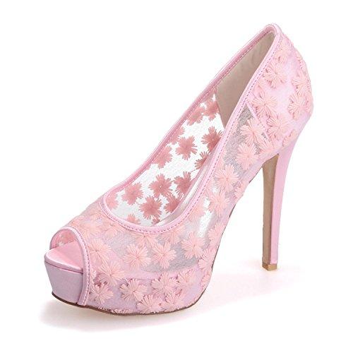 Pink 3128 yc Tacón L Y Encaje Alto Novia Sandalias Para Toes Finas Peep De Seda Mujer 32 H1xqwp