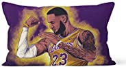 Short Plush Double-Sided Pattern Pillowcase (Pillow core not Included),Cartoon Lebron Lakers Pattern Printing,