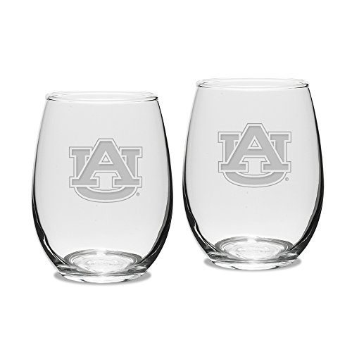 dult Set of 2 - 15 oz Stemless Wine Glass Deep Etched Engraved, One Size, Clear ()