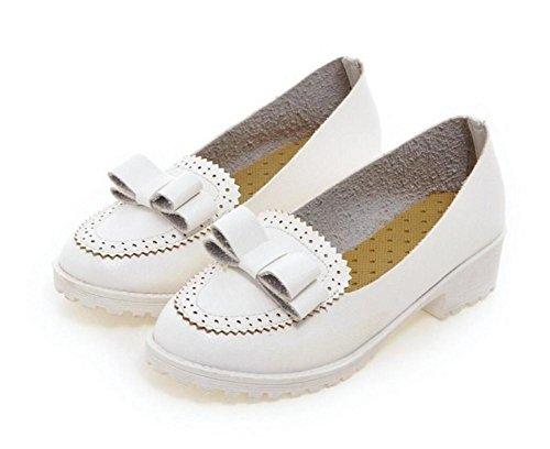 de Dulces de Zapatos Tacón White de con 38 Ocasionales WHITE Redonda 39 del XIE Arco con Zapatos Zapatos pie de Grueso Ayuda Baja Zapatos Dedo Tacón 6nP8Yq1