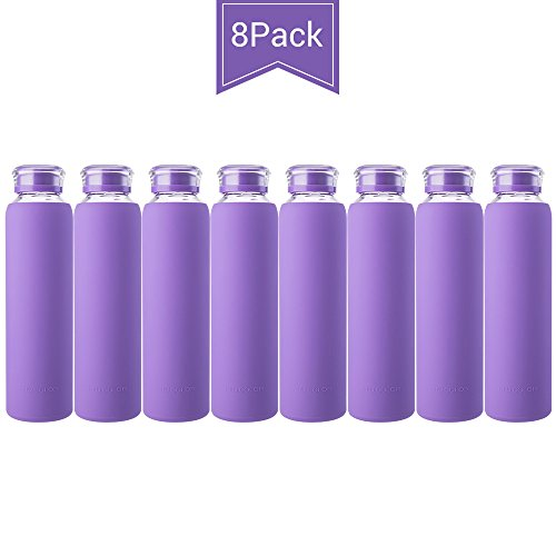 MIU COLOR Glass Water Bottles, Glass Drinking Bottle with Lids for Juicing or Beverage, Smoothies, Milk Container, to Go Sports, 16 oz, Leak Proof - BPA Free, 8 Pack