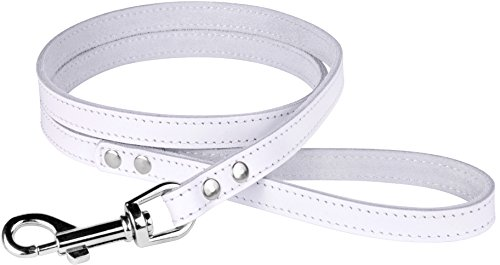 Image of BronzeDog Leather Dog Leash 4ft, Heavy Duty Training Leather Dog Lead Puppy Leash Small Medium Large White Pink Red Blue Green Yellow Turquoise (S 4 ft, White)