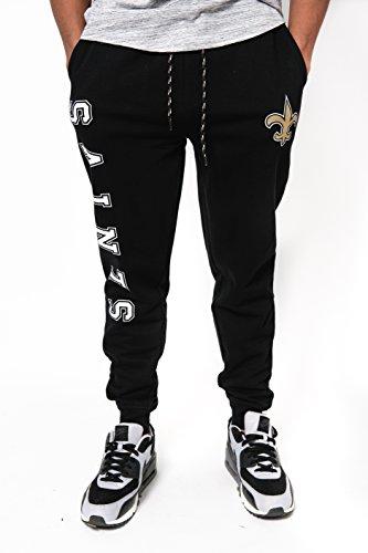 NFL New Orleans Saints Men's Jogger Pants Active Basic Fleece Sweatpants, Large, Black