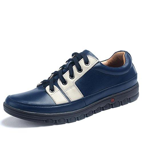 Heart&M diario casual cuero de los hombres ronda toe zapatos de cuero con cordones Blue