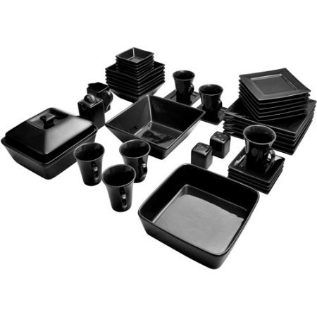 10 Strawberry Street Nova Square Banquet 45-Piece Dinnerware Set (Black)