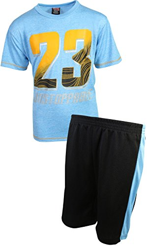 Basketball T-shirt Shorts - Mad Game Boys 2-Piece Basketball Performance Short Sleeve T-Shirt and Shorts Set, Light Blue 23, Size 16/18\''