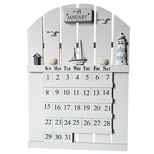 - Lzttyee Creative Chic Vintage Wooden Wall Calendar Adjustable Cubes Desk Perpetual Calendars for Home Office School