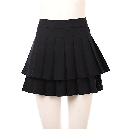 Joyfunny Vanellope Von Schweetz Versatile Pleated Skirt Ladies Summer Skater Mini Skirt Female XL -