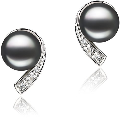 PearlsOnly - Claudia Black 7-8mm AA Quality Freshwater 925 Sterling Silver Cultured Pearl Earring Pair (Pearl Designer)