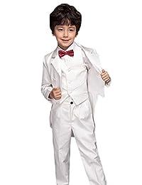 SK Studio Boys' 5 Piece Formal Solid Color Vest Tuxedo with Tails