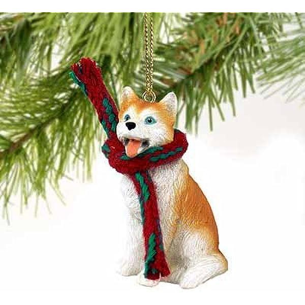 Cottage Dog ornament Coastal Beach and Dog Lover ornament. Seashell Black and White Husky Ornament Christmas ornament
