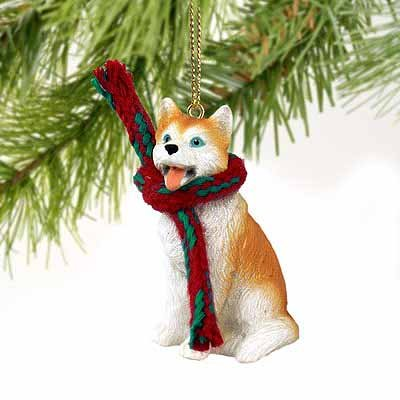 Conversation Husky Miniature Dog Ornament - Red & White