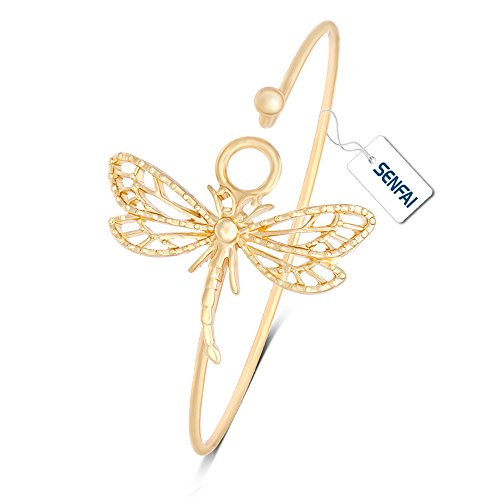SENFAI New Hollowed-Out Dragonfly Easy Opening Bangle Bracelet Jewelry for Elegant Women (Gold) ()