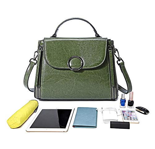 Portable Bag Oil Shoulder Leather per Gray donna borsa Vntage Lady Dreneco da Wax qwCIvdq