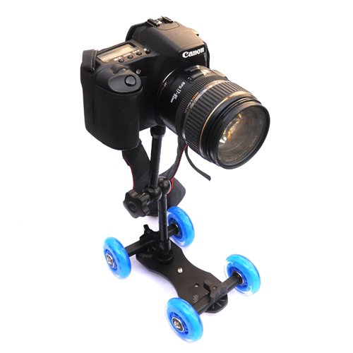 CowboyStudio Premium Flex Skater Dolly Stabilizer Table Top Slider for DSLR Camera