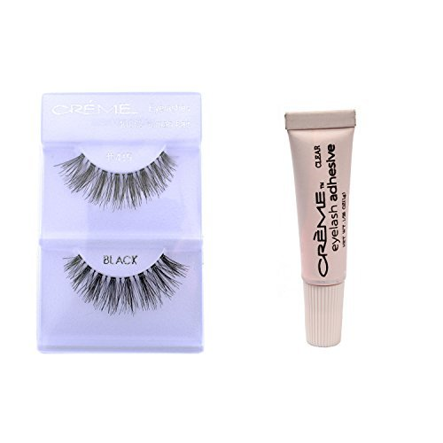 (6 Pairs Crème 100% Human Hair Natural False Eyelash Extensions Black #415 Natural Long Lashes)