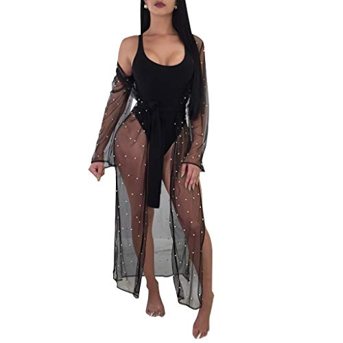 AngelSpace Womens Mesh Slim Fit Sexy Belted Beaded Beachwear Cover Up Black L