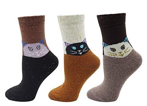 Women's Lady's 3 Pack Cartoon Cat Print Socks, Cat One Size ()