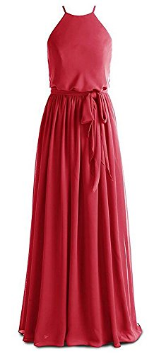 Long Dress AK Beauty Bridesmaid Shoulder Boho Dark Red Flowy Off Chiffon Dresses Women's 4qXRSqw6f