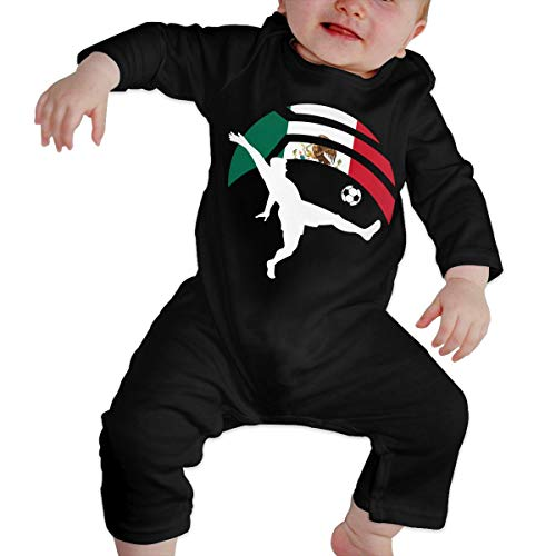 Long Sleeve Cotton Bodysuit for Unisex Baby, Cute Soccer Player Kicking Ball Mexico Flag Jumpsuit Black -