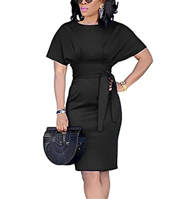 Beautife Womens Work Pencil Midi Dress Casual Summer Short Sleeve Party Dresses with Belt