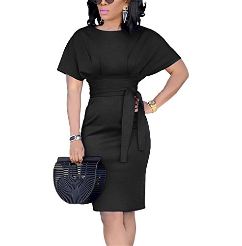 Midi Dress Party Short Belt with Summer Casual Sleeve Womens Pencil Work Beautife Black Dresses q1wxZt6I