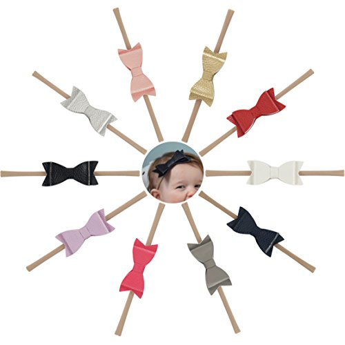 (Ncmama Artificial Leather Bows Nylon Elastic Baby Girls Headband for Newborn Infant Toddler Hairband Pack of 10 )