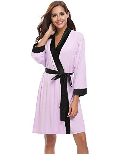 Bathrobe Spa Viola Aibrou Short Knit Robe Cotton Chiaro Bridesmaids Light Kimono w0q8wHRS