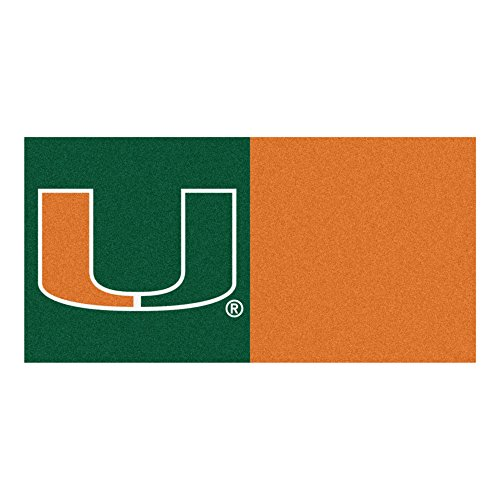 FANMATS NCAA University of Miami Hurricanes Nylon Face Team Carpet Tiles by Fanmats