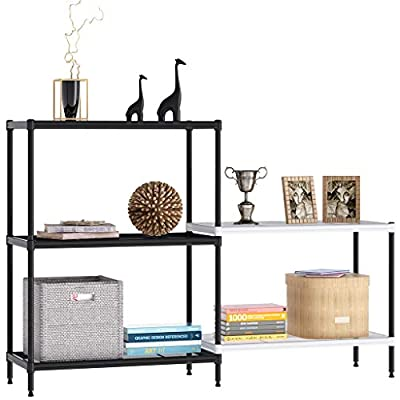 Rackaphile 3+2 Tier Bookshelf Adjustable Shelving Metal Storage Display Shelf Bookcase Utility Kitchen Storage Rack Organizer for Under Staircase, Bathroom, Pantry, Black and White - ★【HIGH & LOW SHELVING DESIGN】use unique high-low shelving design provides extra space for books, plants, media devices, or whatever you like. Maximize utilization space. ★【MULTIFUNCTIONAL METAL SHELVES】Ideal for the house, It can be used for outside storage for gardening tools or plants, and decorations or kitchen Storage Organizer. Especially great for any place where has limited room while requires large storage space. ★【STURDY MESH SHELVE】The metal storage shelf stable to holds up to 198 lbs. All metal shelves have a grooved design for added stability & strength, All metal parts and supports make the unit less likely to wobble or get damaged during shipping and when being used. - living-room-furniture, living-room, bookcases-bookshelves - 41JeTEcaOgL. SS400  -