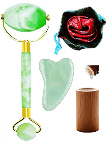 Jade Roller for face Real Jade 100% Jade face Roller Massager, Jade Facial Roller Massager gua sha Scraping Tools Set
