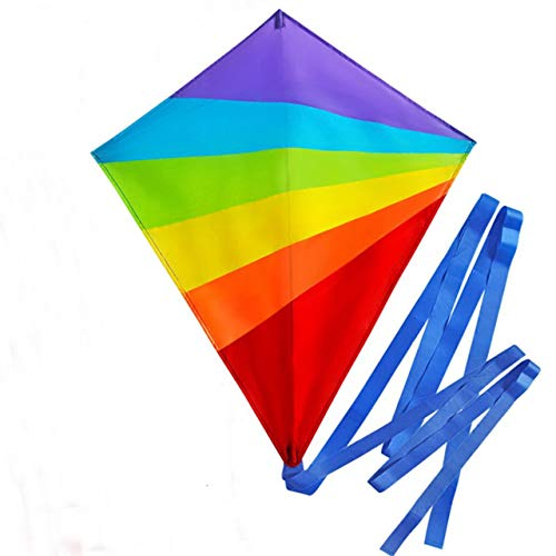 SoGreat Colorful Diamond Kite for Kids (Large) Long, Flowing Tails | Rainbow Colors and Durable Polyester Fabric | Includes Plastic Handle and 40m of String | Girls, Boys