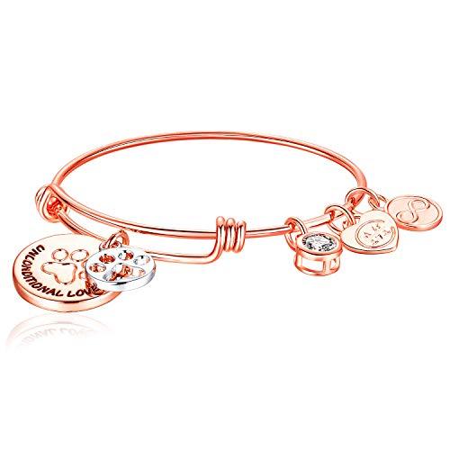 Charmire Inspirational Bangle Bracelet Womens Jewelry Gifts (Rose-Ship)