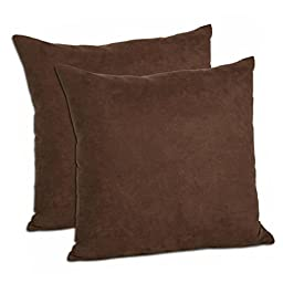 MoonRest Faux Suede 18-Inch-by-18-Inch Pillow Cover, Chocolate (Set of 2)