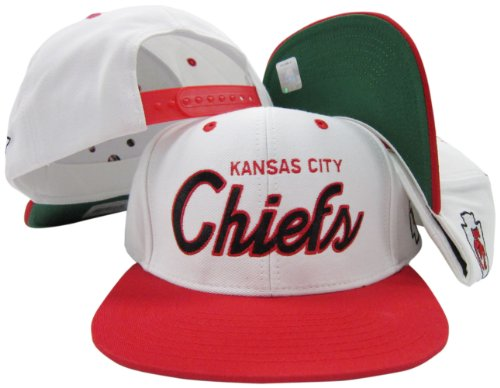 Kansas City Chiefs White/Red Script Two Tone Adjustable Snapback Hat / Cap